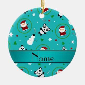 Navidad conocido personalizado de santas de la adorno navideño redondo de cerámica