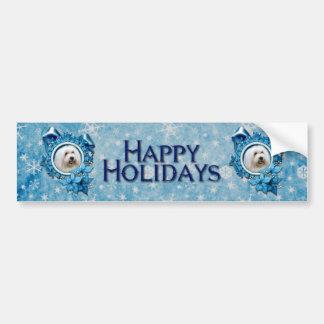 Navidad - copo de nieve azul - algodón de Tulear Pegatina De Parachoque
