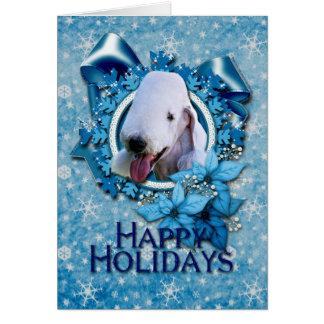 Navidad - copo de nieve azul - Bedlington Terrier Tarjeta De Felicitación