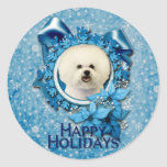 Navidad - copo de nieve azul - Bichon Frise Pegatinas Redondas