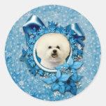 Navidad - copo de nieve azul - Bichon Frise Etiqueta Redonda