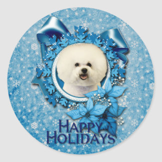 Navidad - copo de nieve azul - Bichon Frise Pegatina Redonda