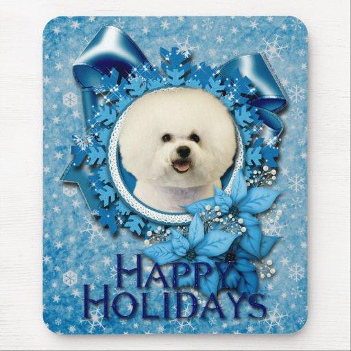 Navidad - copo de nieve azul - Bichon Frise Alfombrillas De Raton
