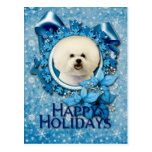 Navidad - copo de nieve azul - Bichon Frise Postales
