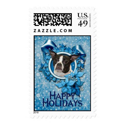 Navidad - copo de nieve azul - Boston y rata Sello