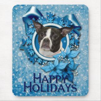 Navidad - copo de nieve azul - Boston y rata Alfombrilla De Ratón