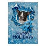 Navidad - copo de nieve azul - Boston y rata Tarjeta De Felicitación