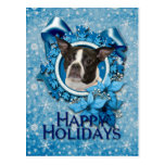 Navidad - copo de nieve azul - Boston y rata Postal