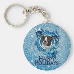 Navidad - copo de nieve azul - Boston y rata Terri Llavero