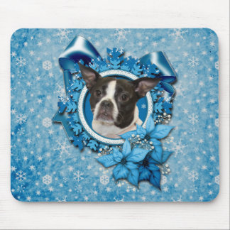 Navidad - copo de nieve azul - Boston y rata Terri Tapetes De Ratones