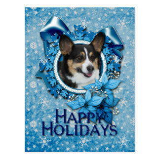 Navidad - copo de nieve azul - Corgi Postal