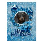 Navidad - copo de nieve azul - Dachshund - Winston Postal