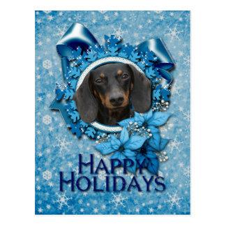 Navidad - copo de nieve azul - Dachshund - Winston Postales