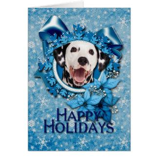 Navidad - copo de nieve azul - Dalmatian Tarjetón