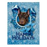 Navidad - copo de nieve azul - Doberman - Rocky