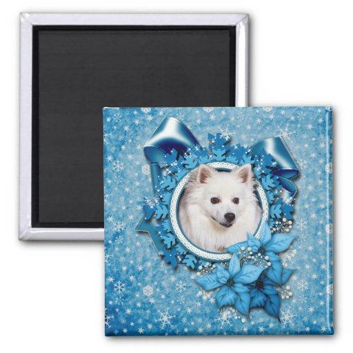 Navidad - copo de nieve azul - esquimal americano imanes para frigoríficos
