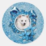 Navidad - copo de nieve azul - esquimal americano etiquetas redondas