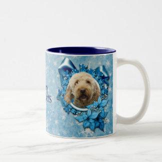 Navidad - copo de nieve azul - Goldendoodle Taza