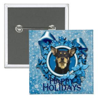 Navidad - copo de nieve azul - Kelpie australiano Pins