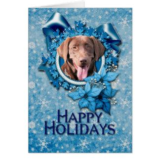 Navidad - copo de nieve azul - Labrador - chocolat Felicitación