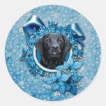 Navidad - copo de nieve azul - Labrador - Etiqueta Redonda