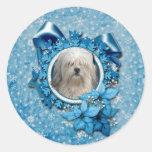 Navidad - copo de nieve azul - Lowchen Pegatinas Redondas