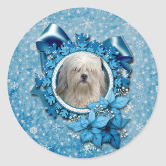 Navidad - copo de nieve azul - Lowchen Pegatina Redonda