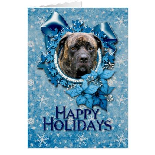 Navidad - copo de nieve azul - mastín - ciclón tarjeta de felicitación