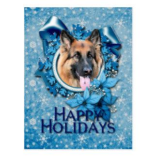Navidad - copo de nieve azul - ocasión del pastor  postales