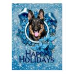 Navidad - copo de nieve azul - pastor alemán - Kun