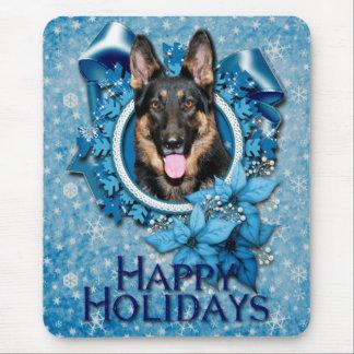 Navidad - copo de nieve azul - pastor alemán - Kun Tapetes De Raton