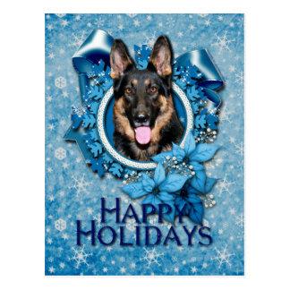 Navidad - copo de nieve azul - pastor alemán - Kun Tarjetas Postales