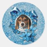 Navidad - copo de nieve azul - perrito del beagle pegatina redonda