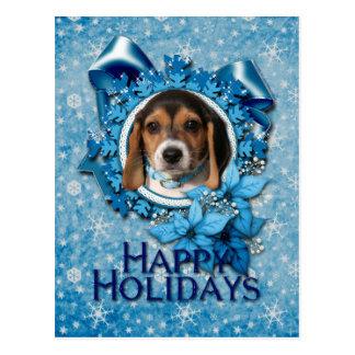 Navidad - copo de nieve azul - perrito del beagle tarjeta postal