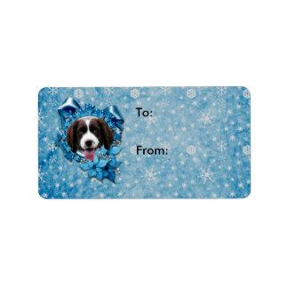 Navidad - copo de nieve azul - perro de aguas de s etiqueta de dirección