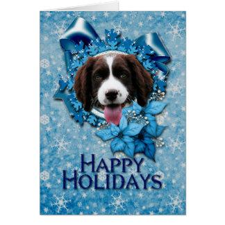 Navidad - copo de nieve azul - perro de aguas de s felicitaciones