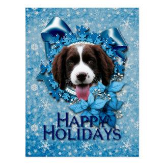 Navidad - copo de nieve azul - perro de aguas de s tarjeta postal