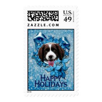 Navidad - copo de nieve azul - perro de aguas de franqueo