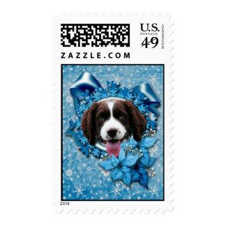 Navidad - copo de nieve azul - perro de aguas de envio