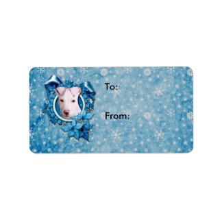 Navidad - copo de nieve azul - Pitbull - Petey Etiquetas De Dirección