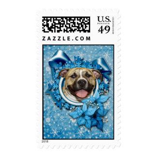 Navidad - copo de nieve azul - Pitbull - Tigger Sellos Postales