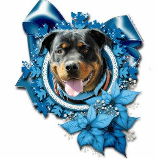 Navidad - copo de nieve azul - Rottweiler Adorno Fotoescultura
