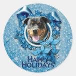 Navidad - copo de nieve azul - Rottweiler Etiquetas Redondas