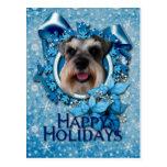 Navidad - copo de nieve azul - Schnauzer Tarjetas Postales