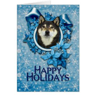 Navidad - copo de nieve azul - Shiba Inus - Yasha Tarjetón