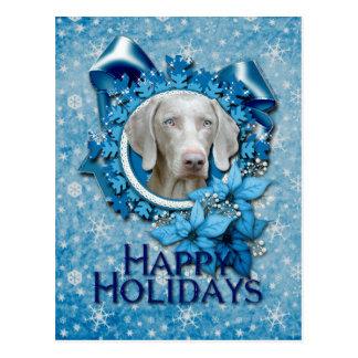 Navidad - copo de nieve azul - Weimeraner - ojo Tarjeta Postal