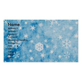 Navidad - copos de nieve azules - afgano tarjetas de visita