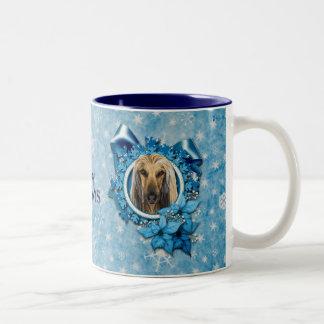 Navidad - copos de nieve azules - afgano taza