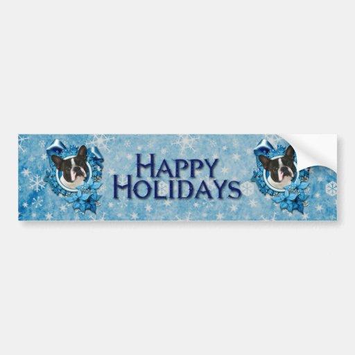 Navidad - copos de nieve azules - Boston Terrier Etiqueta De Parachoque