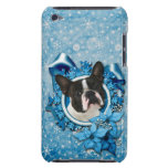 Navidad - copos de nieve azules - Boston Terrier iPod Touch Funda